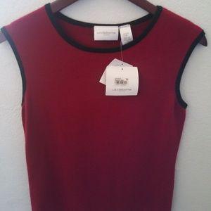 Liz Claiborne Womens Petite Knit Sleeveless Shirt